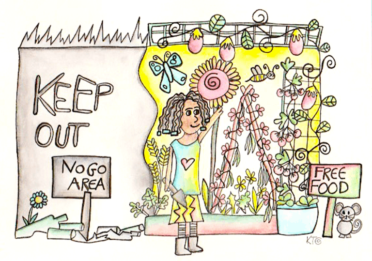 permaculture transformation illustration by kt shepherd
