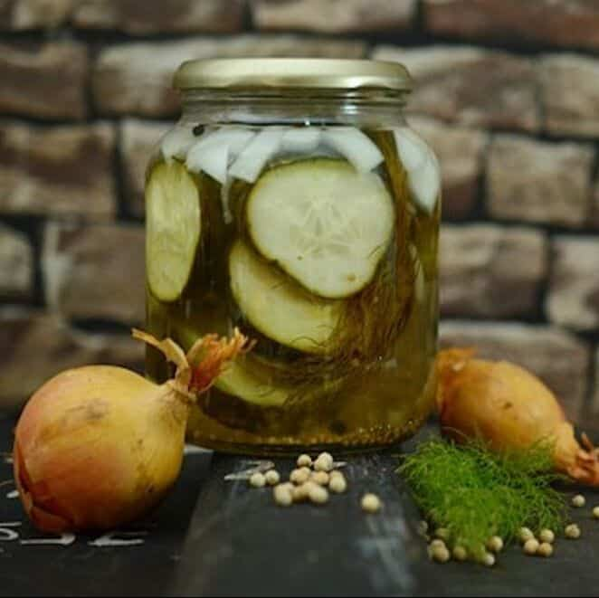 cucumber pickles in a jar