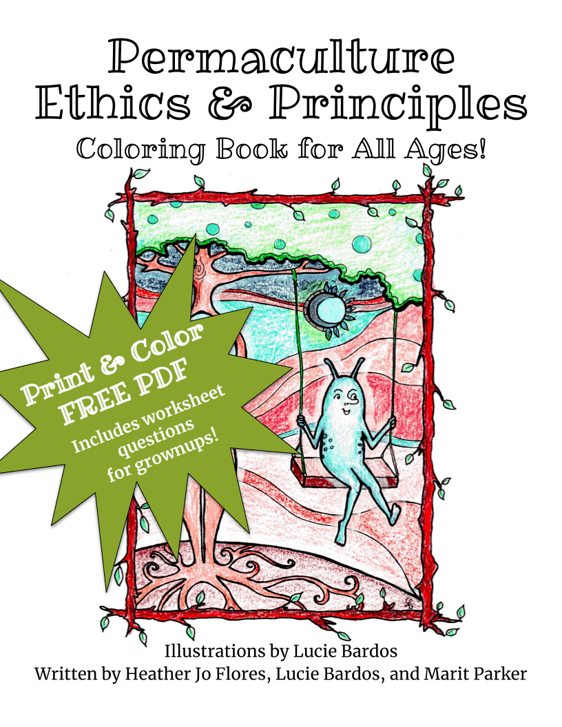 permaculture principles coloring book by Lucie Bardos