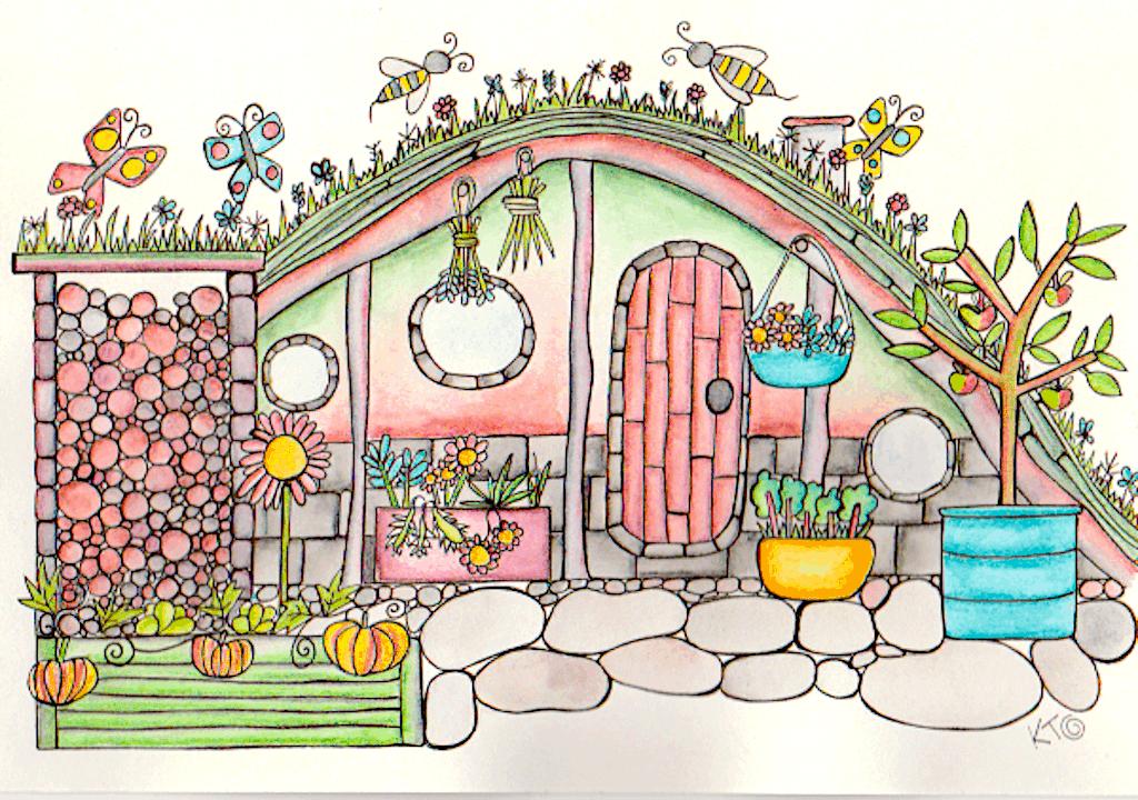 Hobbit house drawing by Kt Shepherd