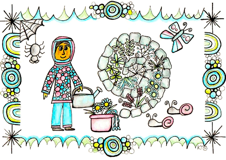 herb spiral illustration