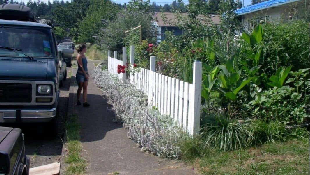 woman with white picket fence food not lawns garden