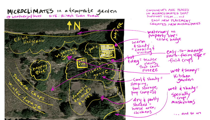 permaculture microclimates in a temperate garden
