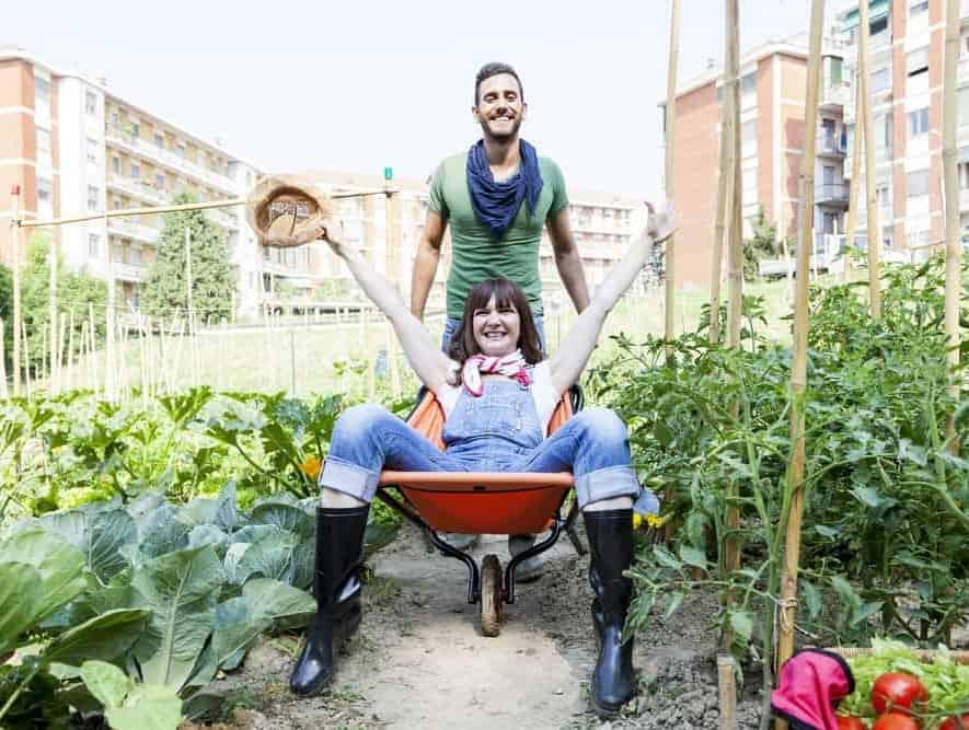 man pushes woman in wheelbarrow in the garden