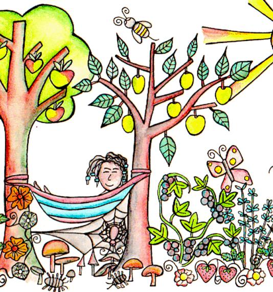illustration by Kt Shepherd of happy person in a hammock in garden